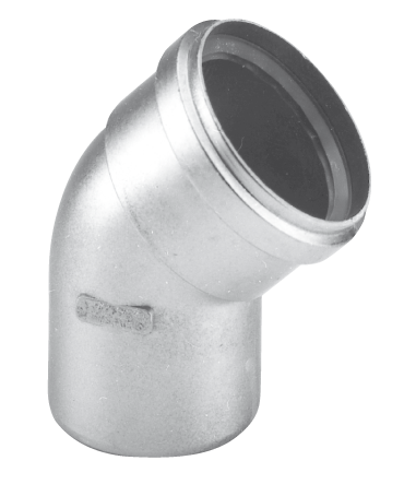 Burgerhout Dikwandig aluminium rookgasbocht 45 80mm mof x spie mugrofix