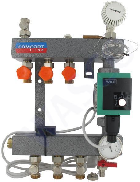 Comfort Verdeler  Wilo Yonos Para RS25/6 A-label pomp 3 groeps staal