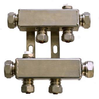Pentec cv verdeler incl. koppelingen tbv kunststof buis M22x16mm 2-groeps 180273501