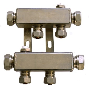 Pentec cv verdeler incl. koppelingen tbv kunststof buis M22x16mm 6-groeps 180673501