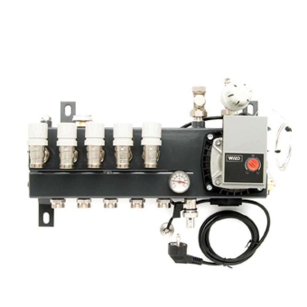 VTE Slim verdeler vloerverwarming bovenaansluiting m. energiezuinige A-label pomp 6-groeps SL100106