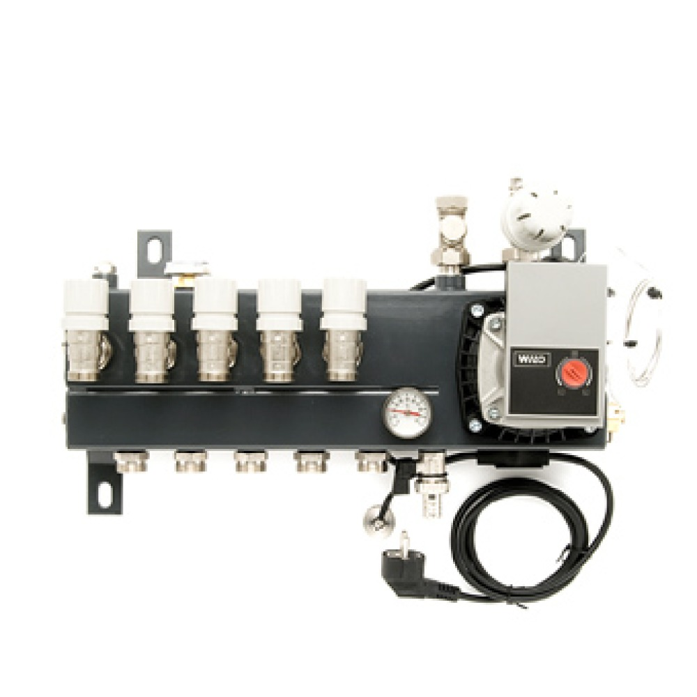 VTE Slim verdeler vloerverwarming bovenaansluiting m. energiezuinige A-label pomp 9-groeps SL100109