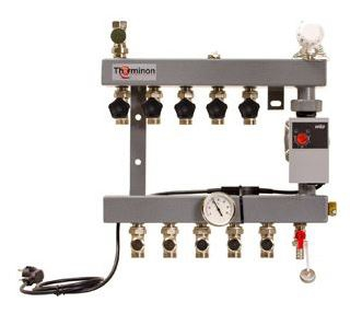 Therminon 5000 verdeler vloerverwarming staal bovenaansluiting dubbele afsluiter 5-groeps m. Yonos A-label