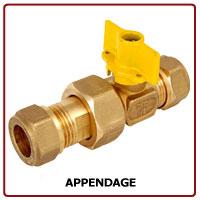BPE Gaskogelkraan messing knel x koppeling knel 15x15 mm 27715